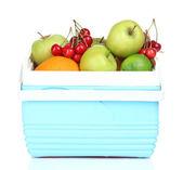 Fresh fruits in mini refrigerator, isolated on white — Stock Photo