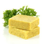 Bouillon cubes with parsley, isolated on white — Stock Photo