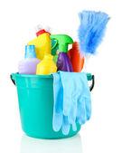 Čištění předmětů v kbelíku izolovaných na bílém — Stock fotografie