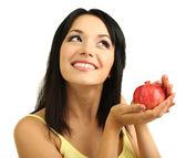 Girl with fresh pomegranate isolated on white — Stock Photo