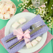 Stock Photo: Table setting in violet and pink tones on color wooden background