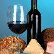 Exquisite still life of wine, cheese and meat products — Stock Photo #26736713