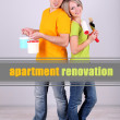 Royalty-Free Stock Photo: Young couple  doing renovation together