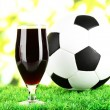 Stock Photo: Glass of beer on lawn with ball