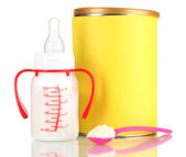 Bottle with milk and food for babies isolated on white — Stock Photo