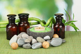 Still life with green bamboo plant and stones, on bamboo mat, on bright background — Stock Photo