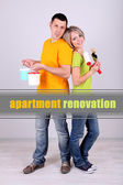 Young couple doing renovation together — Stock Photo
