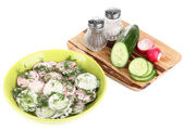Vitamin vegetable salad in plate isolated on white — Stock Photo