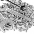 Wrenches on bolts, screws and nuts isolated on white — Stock fotografie