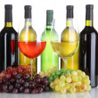 Assortment of wine in glasses and bottles isolated on white — Stock Photo #26794801