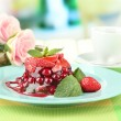 Tasty jelly dessert with fresh berries, on bright background — Stock Photo #26798189
