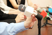 Conference meeting microphones — Stock Photo