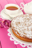 Delicious poppy seed cake on table close-up — Stock Photo
