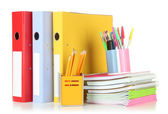 Bright office folders and different stationery isolated on white — Stock Photo
