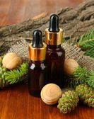 Bottles of fir tree oil and green cones on wooden table — 图库照片