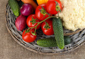 Fresh vegetables on burlap background — 图库照片