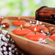 Stock Photo: Beautiful candles in water on wooden table on natural background
