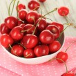 Cherry berries on wooden table close up — ストック写真