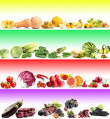 Colorful collage with vegetables and fruits — Stock Photo