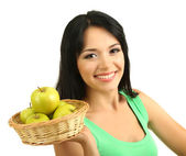 Girl with fresh apples isolated on white — Stock Photo