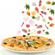Pizza and ingredients isolated on white — Stock Photo