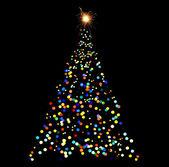 Christmas tree-shaped sparklers on black background — Stock Photo