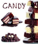 Muchos diferentes chocolates aislado en blanco — Foto de Stock