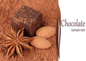 Chocolate sweets with cocoa close-up — Stock Photo