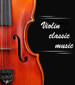 Classical violin on black background — Stock Photo