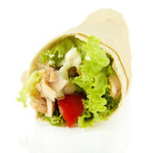 Kebab - grilled meat and vegetables, isolated on white — Stock Photo