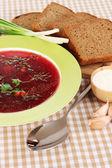 Delicious borsch on table close-up — Stock Photo