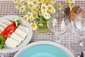 Table setting with chamomiles on checkered tablecloth — Stock Photo
