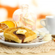 White bread toast with chocolate and cup of coffee in cafe — Stock Photo