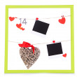 Colorful frame with photos and hearts on rope isolated on white — Stock Photo