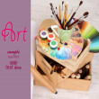 Stock Photo: Wooden easel with clepaper and art supplies in room