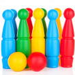 Colorful plastic skittles of toy bowling isolated on white — Stock Photo #27097877