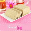 Tasty halva with tea on table close-up — Stock Photo