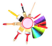 Set for painting: paint pots, brushes,paint-roller, palette of colors isolated on white — Stock Photo