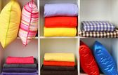 Bright pillows, towels and plaids on shelves, isolated on white — Stock Photo