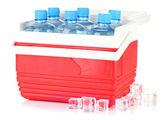 Viajando a geladeira com garrafas de água e cubos de gelo, isolado no branco — Fotografia Stock