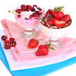 Delicious strawberry and cherry desserts in glass vase isolated on white — Stock Photo