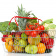 Assortment of fresh fruits and vegetables in metal basket, isolated on white — Stock Photo #27104673
