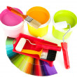 Set for painting: paint pots, brushes, paint-roller and palette of colors isolated on white — Stock Photo #27107723