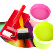 Set for painting: paint pots, brushes, paint-roller and palette of colors isolated on white — Stock Photo