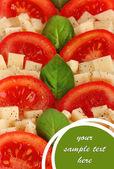 Sýr mozzarella s zeleninou v deska detail — Stock fotografie