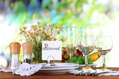 Table setting with chamomiles on wooden table on nature background — Stock Photo