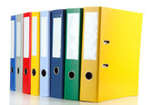 Bright office folders isolated on white — Stock Photo