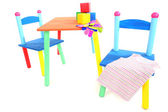 Small and colorful table and chairs for little kids isolated on white — Stockfoto