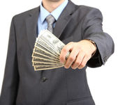 Young businessman with money isolated on whit — Stock Photo