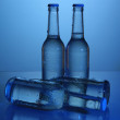 Water bottles on blue background — Stock Photo